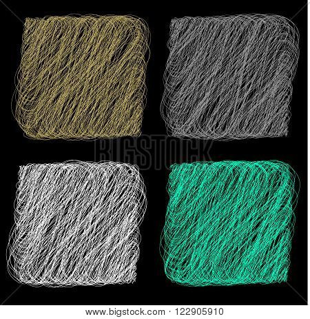 Vector color Rope hank on black background 3