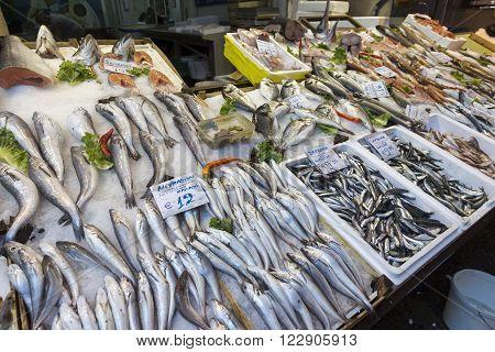 Fish stall in Modiano market in Thessaloniki Greece.
