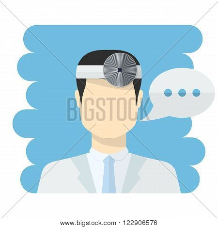 Doctor ophthalmologist vector.Vector medical worker icon male Doctor avatar in uniform , in flat style with a color speech bubbles conceptual health care.Ophthalmologist Dr.Doctor icon flat style