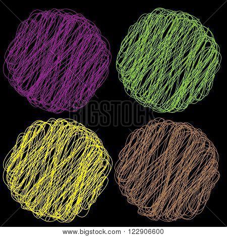 Vector color Rope hank on black background 5