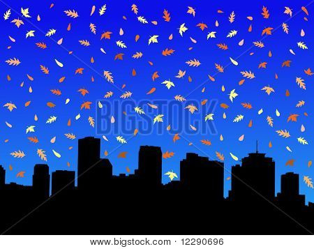New Orleans skyline in autumn with falling leaves illustration
