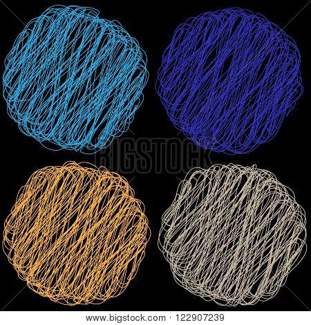 Vector color Rope hank on black background 6