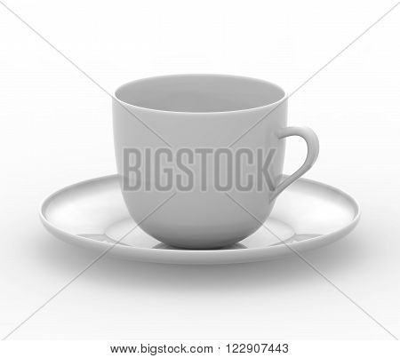 Blank coffee cup with plate. Photo illustration
