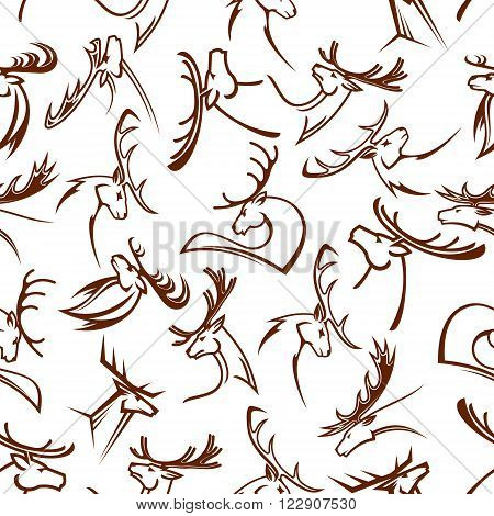 Gorgeous deers heads seamless pattern of reindeers and elks, white tailed deers, mooses and fallow deers with powerful antlers