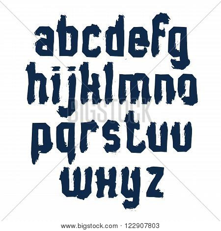 Handwritten monochrome dirty vector lowercase letters stylish letters drawn ink doodle alphabet.