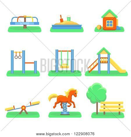 Kids playground set. Icons with kids swings and objects. Slide and kindergarden sandbox carousel vector illustration.