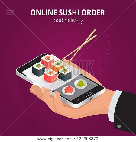 Online sushi. Ecommerce concept order food online website. Fast food sushi delivery online service. Flat 3d isometric vector illustration