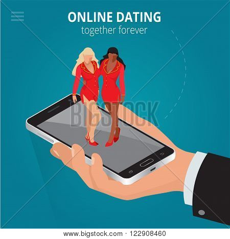 Online dating app concept.  Interracial couple app illustration in flat style. 3d isometric vector illustration