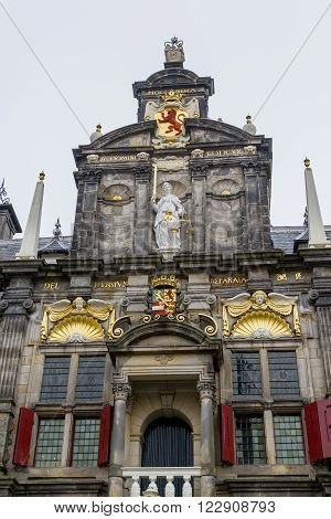 Delft, Netherlands - May 8: There is the pediment of Town Hall May 8, 2013 in Delft, Netherlands.