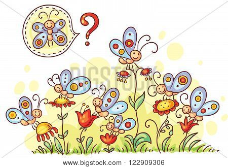 Find a similar butterfly game,  colorful cartoon, vector