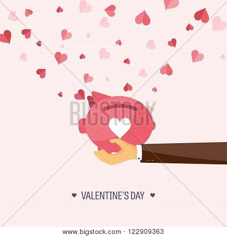 Vector illustration. Flat background with piggy bank. Love, hearts. Valentines day. Be my valentine. 14 february.  Message.