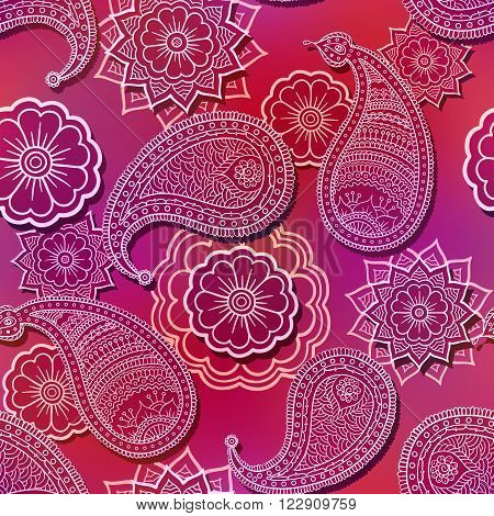 Seamless red doodle flower paisley pattern on shiny purple background