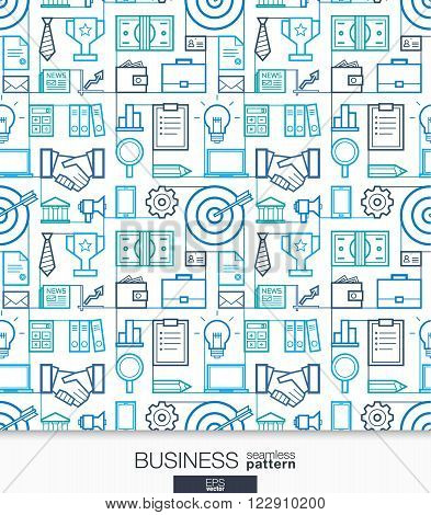 Business strategy wallpaper. Marketing seamless pattern. Tiling textures with thin line integrated web icons. Vector network illustration. Abstract background for mobile app, website, presentation.