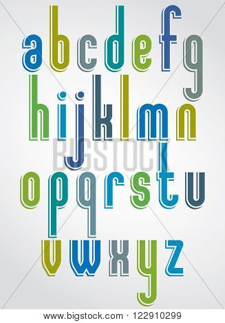 Thin bright font, vector lowercase letters with white outline.