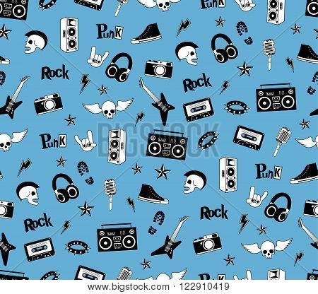 Seamless pattern. Punk rock music isolated on blue background. Doodle style elements, emblems, badges, logo and icons. Vector illustration.