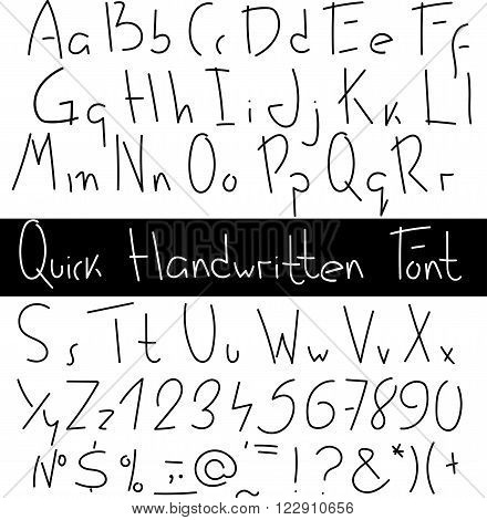 Quick handwritten font. Expression hand drawn letters.