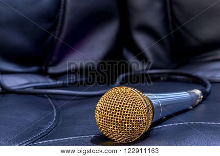 microphone for karaoke close-up on a black background