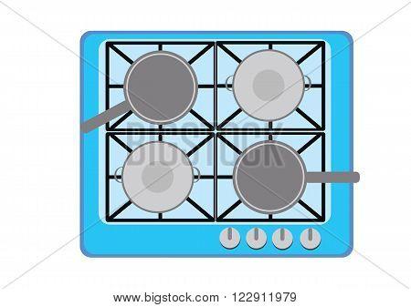 Frying pan on gas burner. Vector Illustration