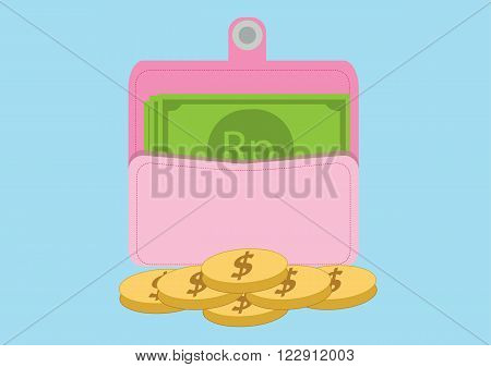 Pink purse with Dollar coins and Rupiahs. Vector Illustration