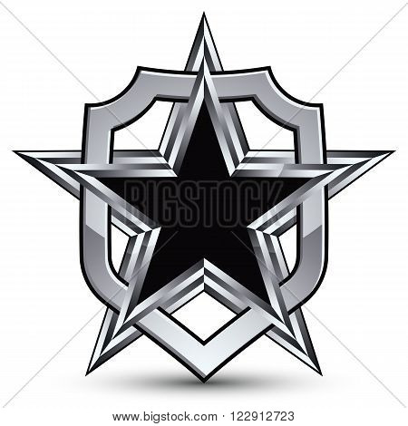 Celebrative vector silver emblem with black pentagonal star 3d royal design element. Dimensional coat of arms isolated on white background.