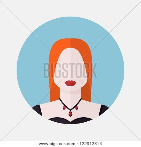 Vector female avatar icon in flat style Scandinavian nationality.