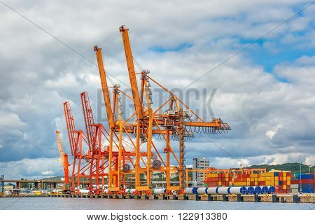 Sea cargo port and container terminal of Gdynia, Baltic, Poland
