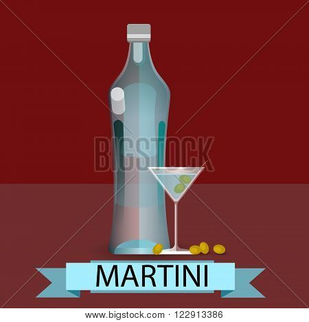 Martini Bottle Glass Olive Alcohol Drink Icon Flat Vector Illustration
