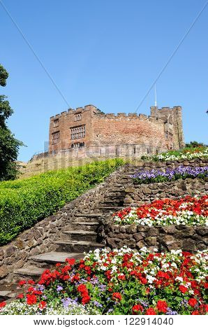 View of the castle gardens with steps leading towards the Norman castle Tamworth Staffordshire England UK Western Europe.