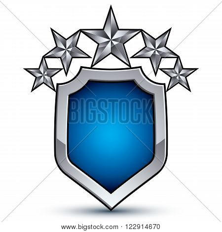 Majestic blue vector emblem with five silver decorative pentagonal stars 3d royal conceptual design element Shiny coat of arms isolated on white background. Heraldic escutcheon.