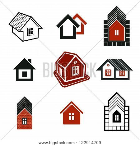 Different Houses Icons For Use In Graphic Design, Set Of Mansion Conceptual Symbols, Vector Abstract