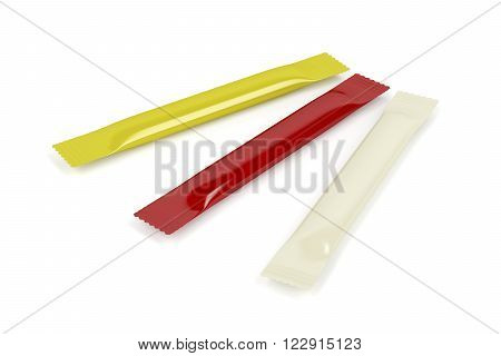 3D Illustration of mustard ketchup and mayonnaise sachets on white background