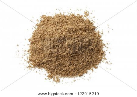 Heap of coriander powder on white background