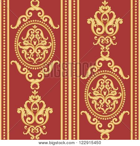 Seamless damask pattern. Gold and red texture in vintage rich royal style. Vector illustration. Can use as background for birthday card, wedding invitations, textile print, wallpaper, wrapping paper