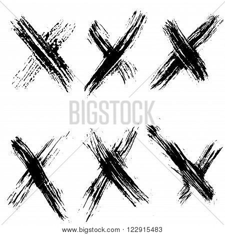 Collection of black painted no marks. Vector set of brush strokes. Isolated on white background. Grunge icon.