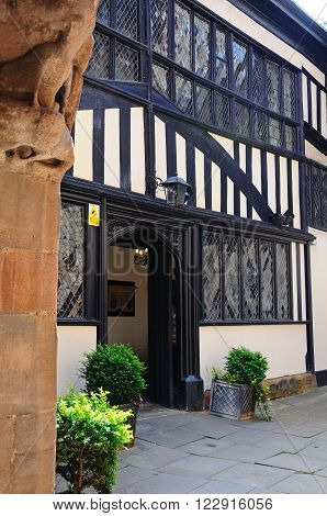 COVENTRY, UK - JUNE 4, 2015 - Entrance to St Marys Guildhall within the courtyard Coventry West Midlands England UK Western Europe, June 4, 2015.