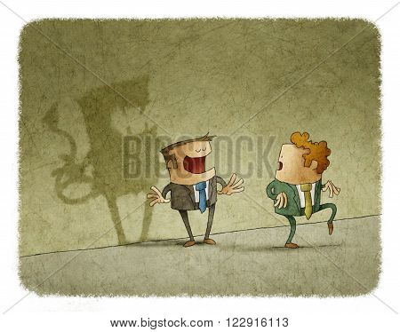 Man casting shadow of devil on wall. His colleague standing on tiptoe