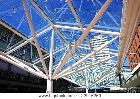 COVENTRY, UK - JUNE 4, 2016 - Lower Precinct Shopping Centre with its modern glass ceiling in the city centre Coventry West Midlands England UK Western Europe, June 4, 2015.