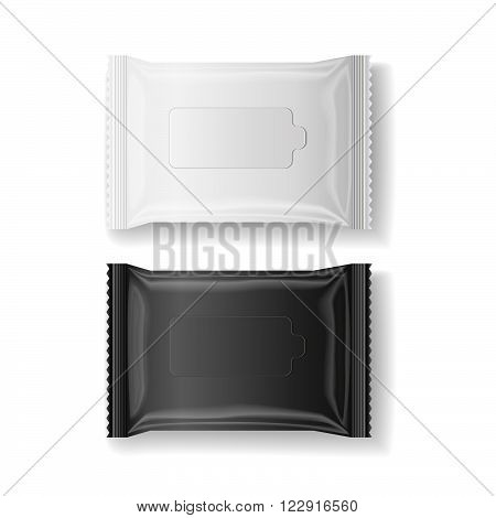 black & white wet wipes package realistic vector isolate 3D