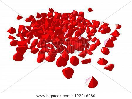 Vector image red. Gems on white background.