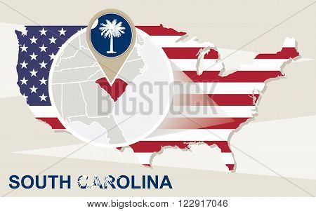 Usa Map With Magnified South Carolina State. South Carolina Flag And Map.