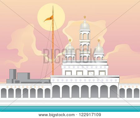 an illustration of a beautiful punjabi gurdwara in white marble with orange flag pole known as nishan sahib and sarovar at sunrise with a big yellow sun