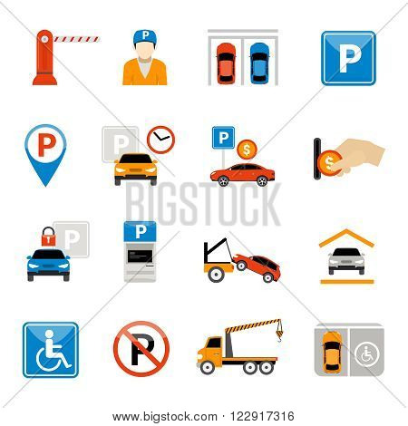 Set of parking isolated abstract icons with special signs equipment characters and actions vector illustration