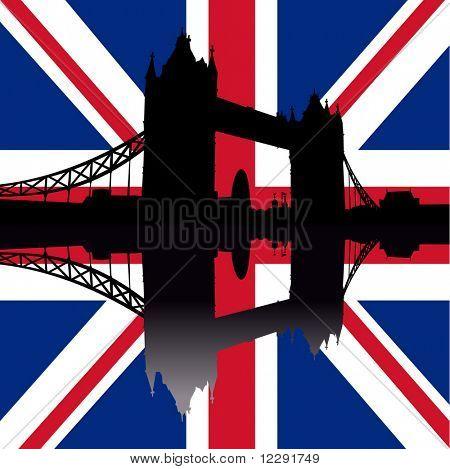 Tower Bridge London reflected against British Flag illustration