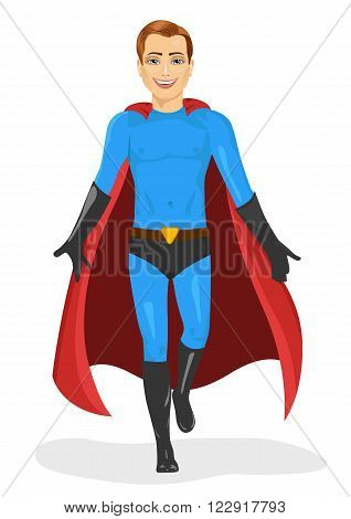 handsome young man in blue superhero costume walking forward isolated over white background