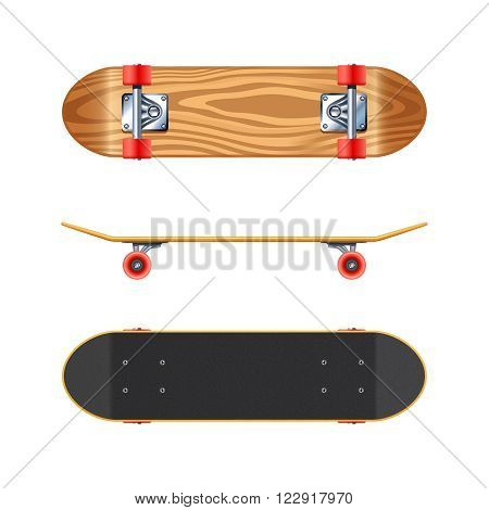 Skateboard black deck top side and maple wood bottom views projections realistic on white background vector illustration