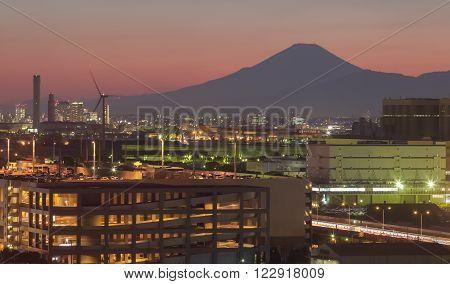 Kawasaki industry city and Mountain fuji at sunset