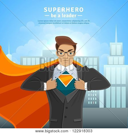 Businessman opening shirt in superman style on the cityscape concept vector illustration