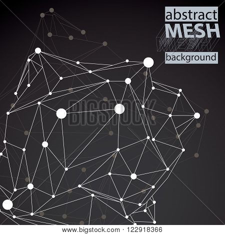 Geometric vector abstract 3D complicated lattice backdrop black and white messy conceptual tech illustration.