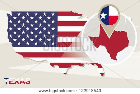 Usa Map With Magnified Texas State. Texas Flag And Map.
