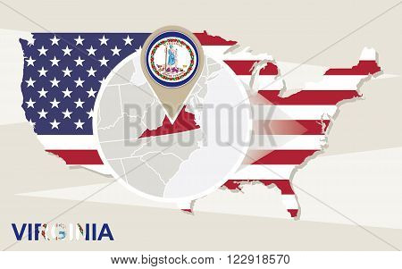 Usa Map With Magnified Virginia State. Virginia Flag And Map.